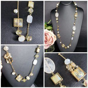 3/$30~Goldtone Mixed Glass Beaded Necklace